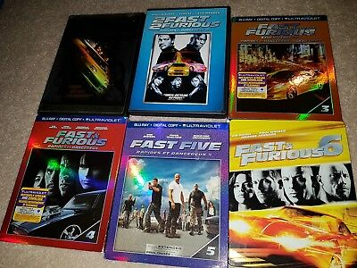Dvd Blu Ray Lot Fast and The Furious 2 3 4 5 6 (6 is a steelbook)