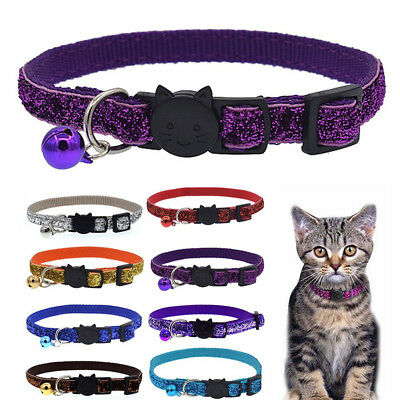 Safety Cat Kitten Bling Shiny Breakaway Cat Collar With Bell Neck Strap