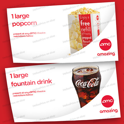 AMC Theaters 1 Large Popcorn and 1 Large Fountain Drink Voucher ⚡Fast Delivery⚡
