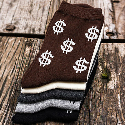 Autumn Novelty Men's Long Socks Harajuku Money Dollar Patterned