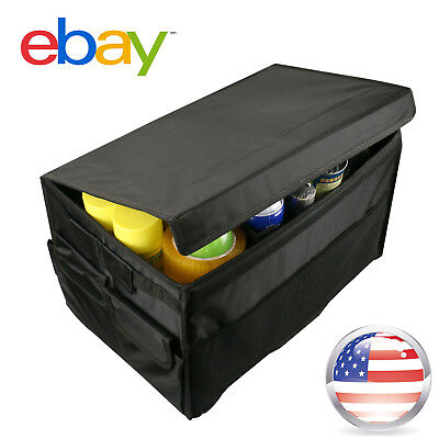 Black Universal Foldable Car Organizer Trunk Box Portable Bag Storage Case Cargo