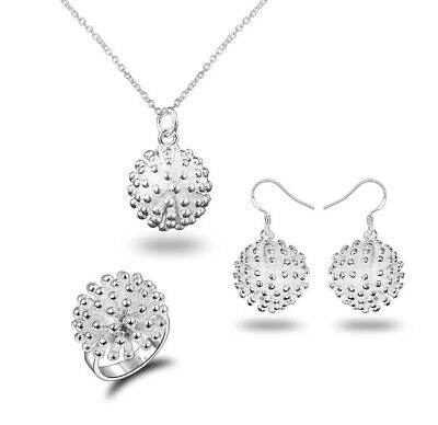 1 Set Womens Drop Jewelry Sterling Silver Set Pendant Chain Earrings with Ring