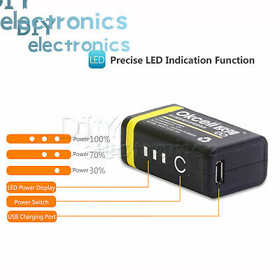 USB Rechargeable 9V 800mAh Lipo Battery RC Helicopter Microphone New US