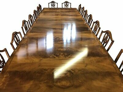 Amazing giant and very rare 14ft Burr Walnut dining table pro French polished