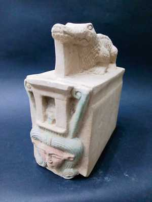 Rare Ancient Egyptian Antiques Statue of God Hathor And Sobek EGYPT Stone BC