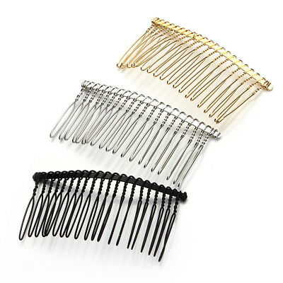 6pcs DIY Blank Metal Hair Clips Side Hair Comb 20 Teeth Bridal Accessories