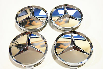 4x MERCEDES BENZ WHEEL CENTER CAPS GLOSS SILVER RIM HUBCAPS EMBLEM 75mm 2.95""
