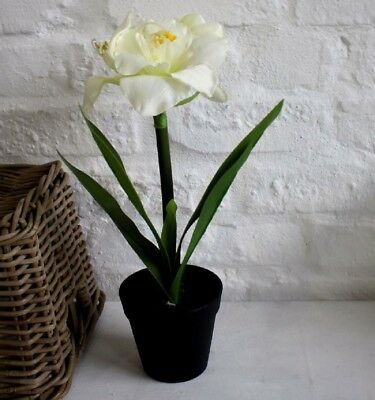 Artificial Cream Amaryllis Flower Plant in a Pot Potted Lily 45cm