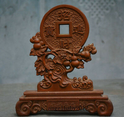 """8"""" Old China Palace Boxwood Wood Hand Carved Gourd trees Coin Folding Screen"""
