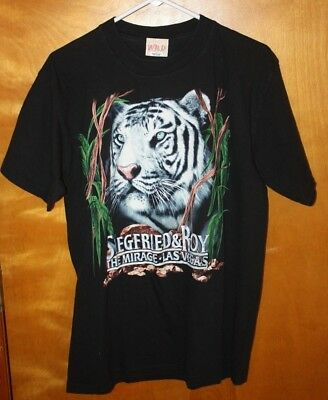 SIEGFRIED & ROY MIRAGE LAS VEGAS CASINO MAGIC TIGERS T SHIRT Sz L M ? vintage