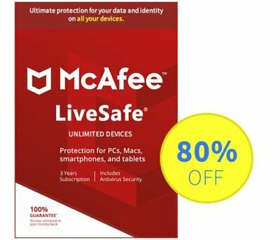 McAfee LiveSafe 2019 Antivirus - 1 Years Unlimited devices, Subscription