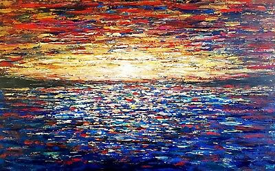 """Large Colorful Original abstract painting acrylic """"Colored Ocean"""", 48x30x1.5"""""""