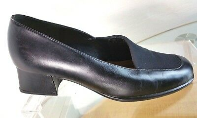 4e75f5b1a26 GABOR Loafers Women s Size 8.5 US Black Leather Slip-On Block Heel Portugal  Made
