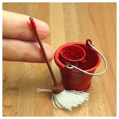 Dollhouse miniature indoor mop and red bucket 1:12 scale