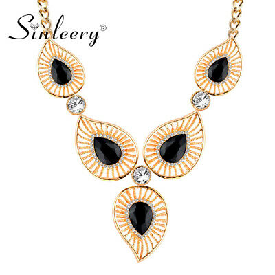 Big Hollow Leaf Waterdrop Cubic Zirconia Necklace Gold Plated Fashion Jewelry