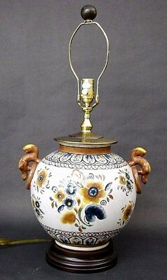 Exceptional ORIENTAL ACCENT Chinoiserie Ceramic Brass Table Lamp 29""