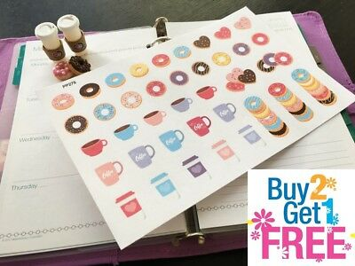 PP278 -- Donuts and Coffees Icons Life Planner Stickers for Erin Condren (38pcs)