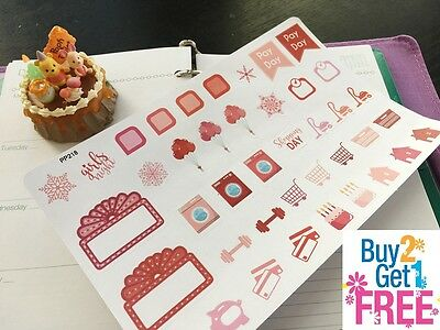 PP218 -- Red Seasonal Icon Life Planner Stickers for Erin Condren 41pcs