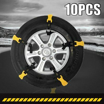 10pcs Plastic Anti-Skid Slip Snow Wheel Chains Beef Tyre Winter Strap BelV