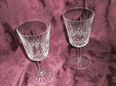 """2 Waterford Crystal LISMORE  7"""" TALL LEADED WATER or WINE GLASS Goblets"""