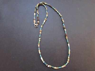 NILE  Ancient Egyptian Faiencel Amulet Mummy Bead Necklace ca 600 BC