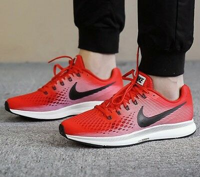 best service 55511 1ccf7 Nike Air Zoom Pegasus 34 Red Black 880555 602 Men s Running Shoes 100%  Authentic