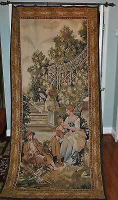 Aubusson Tapestry Beautiful very large Handmade French Antique Design 48' x 100""