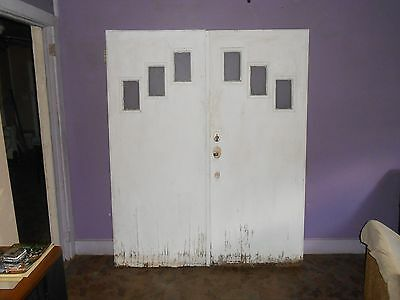 Vintage/Antique Classic Church  Exterior Double Doors With The 3 Pane Glass