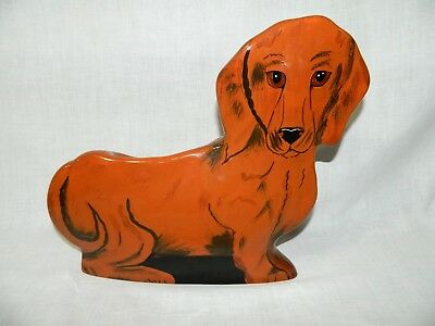 Dogs by Nina Lyman Dachshund Weiner Dog Vase Planter Hand Painted Large 12""