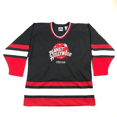 Planet Hollywood Chicago Medium 1991 Black Red White Hockey Jersey Embroidered