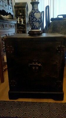 Vintage Chinese Black and Gold oriental furniture Cabinet