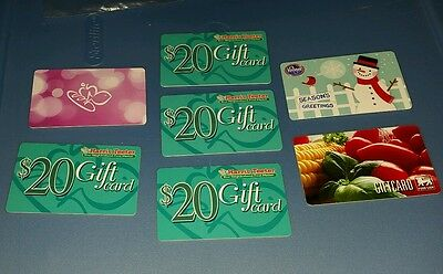 Lot of 7 - grocery store food lion Harris teeter no value collectible gift card