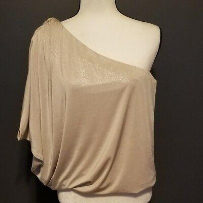 6e068f870d3e7 NWT Jennifer Lopez Womens Cold Shoulder Gold Blouse Size Small Liquid  Champagne