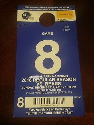 New York Giants USED parking pass december 2 2018 ny chicago bears game 12/2/18