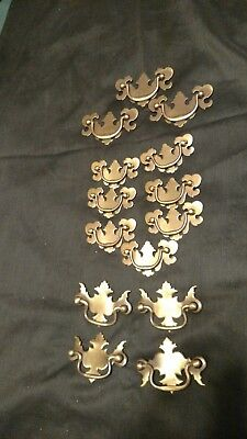 Vintage lot 14 Brass Finish Furniture Drawer Pulls Drop Down Handle 3 Styles