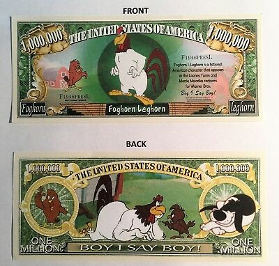 RARE: Foghorn Leghorn $1,000,000 Novelty Note, Cartoons Buy 5 Get one FREE