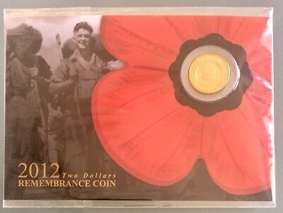 2012 $2 Remembrance Day Gold Poppy Carded UNC Coin