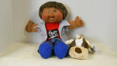 Cabbage Patch Kids Doll Brown Hair Blue Eyes With Cute Outfit