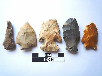 Native American Arrowheads x 5, Genuine Archaic Artifacts, 1000BC-8000BC (961)