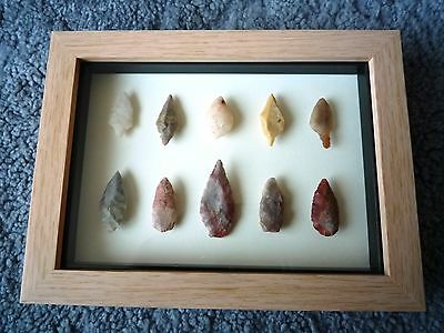 Neolithic Arrowheads in 3D Picture Frame, Authentic Artifacts 4000BC (0864)
