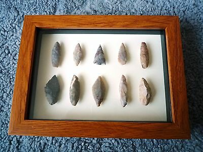 Neolithic Arrowheads in 3D Picture Frame, Authentic Artifacts 4000BC (0891)