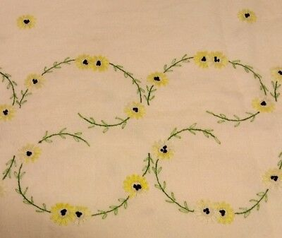 """Vintage 52"""" x 72"""" Rectangular Ivory Linen Tablecloth Embroidered Flowers Yellow"""