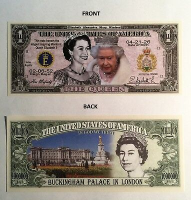 The Queen, Buckingham Palace, Royal $1,000,000 Novelty Note, Buy 5 Get one FREE