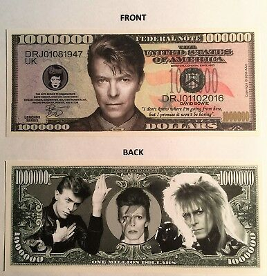 RARE: David Bowie $1,000,000 Novelty Note, Music. Buy 5 Get one FREE
