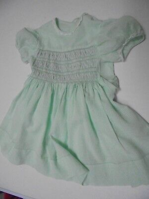 Vintage childs smocked, Voile Dress, Handmade.  New.