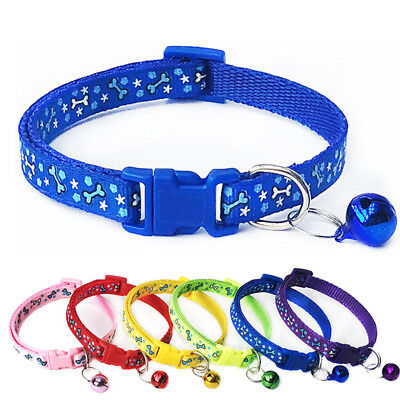 Adjustable 1Pcs Dog Collars Cute Pet Puppy Cat Polyester Safety Collar With Bell