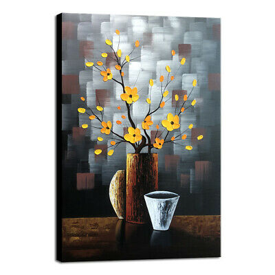 Canvas Oil Paintings Hand Paint Original Wall Art Home Room Decor Brown Floral