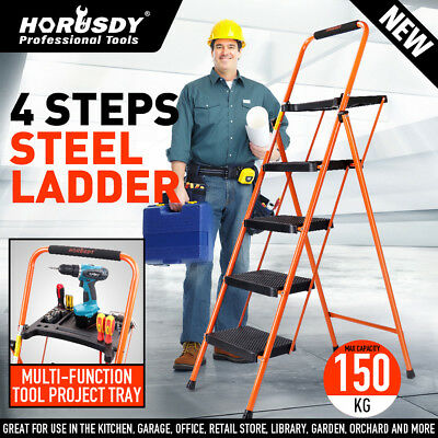 4-Step Folding Ladder Wide Anti Slip Steps Steel Frame Soft Grip Top Tool Tray