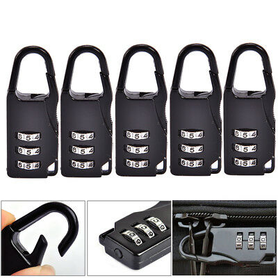 5pcs Mini 3 Digit resetable Combination Travel Luggage Suitcase Lock Padlock USA