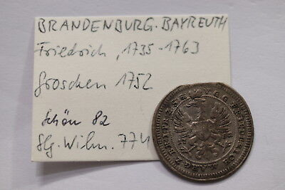 Germany Brandenburg Groschen 1752 Nice Details B12 #6484